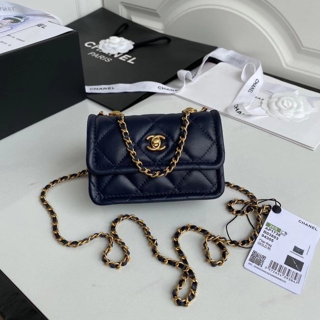 Chanel mini flap bag Sheepskin & Gold-Tone Metal AP1738 royal blue