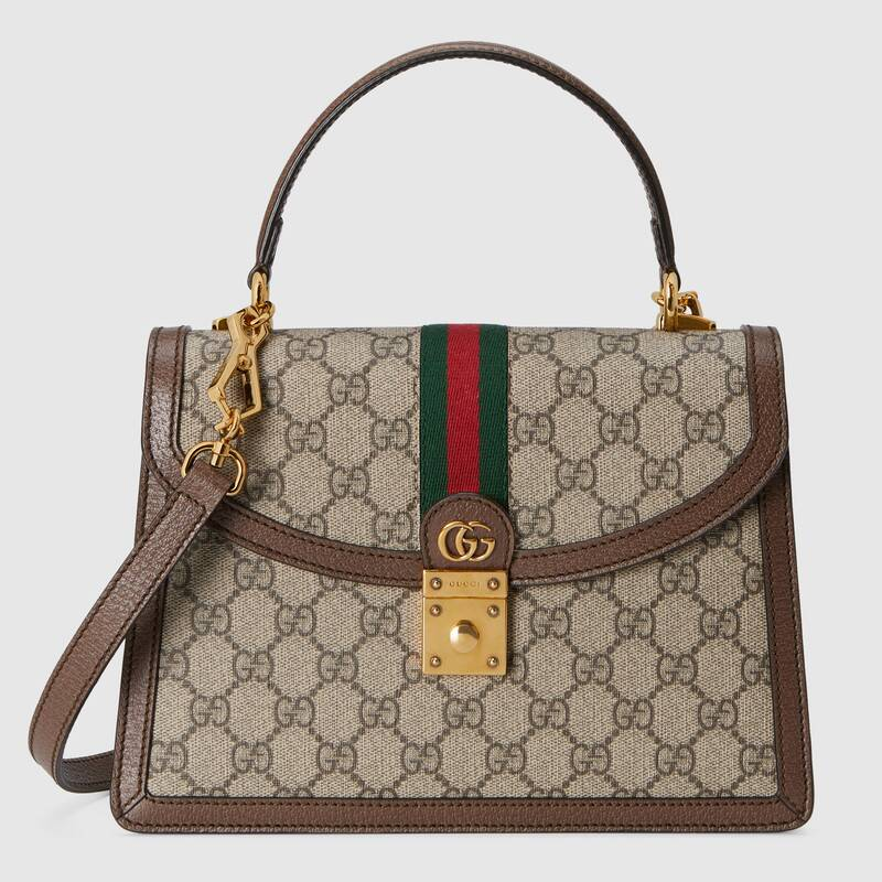 Gucci Ophidia small top handle bag with Web 651055 brown