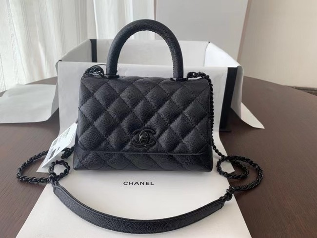 Chanel coco mini flap bag with top handle AS2215 black