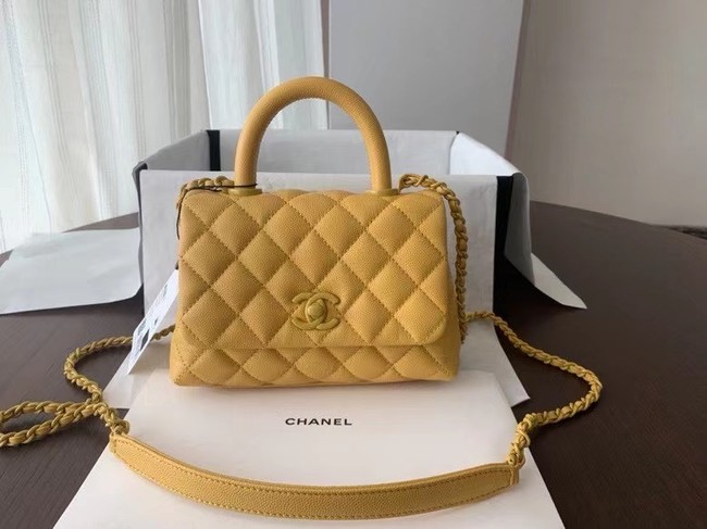 Chanel coco mini flap bag with top handle AS2215 yellow