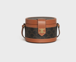CELINE MEDIUM TAMBOUR BAG IN TRIOMPHE CANVAS 195192 brown