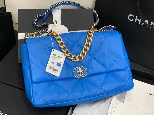 chanel 19 large flap bag AS1162 Electric blue