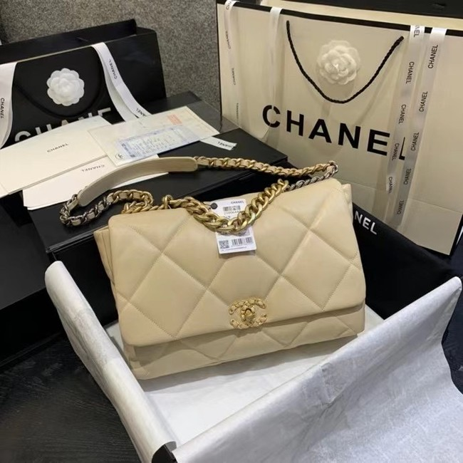 chanel 19 large flap bag AS1162 Light apricot
