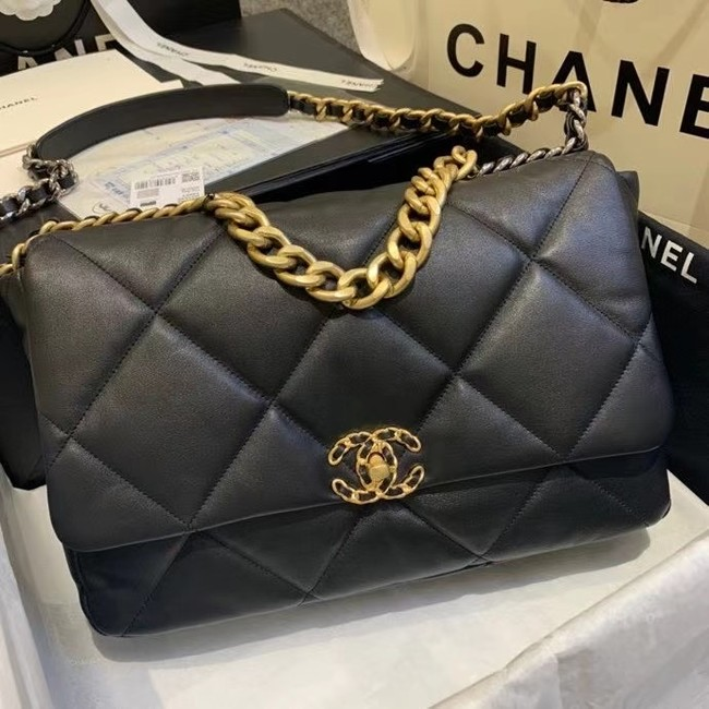 chanel 19 large flap bag AS1162 black