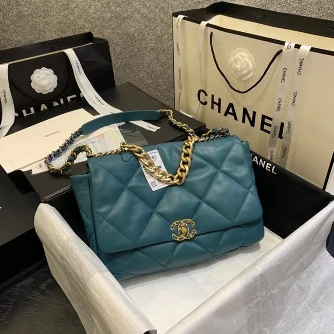 chanel 19 large flap bag AS1162 blue