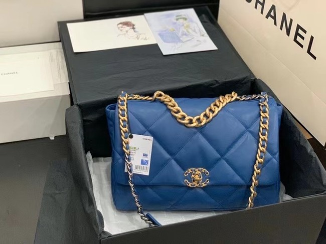 chanel 19 large flap bag AS1162 dark blue