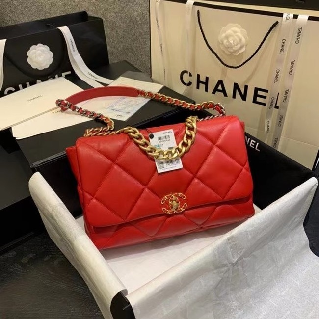 chanel 19 large flap bag AS1162 red