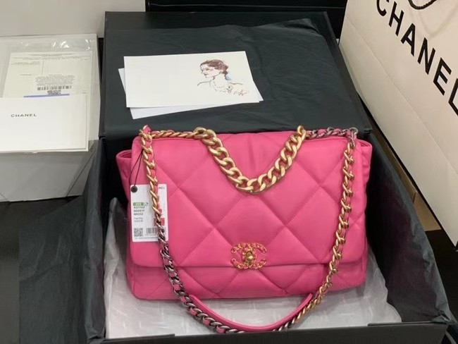 chanel 19 large flap bag AS1162 rose