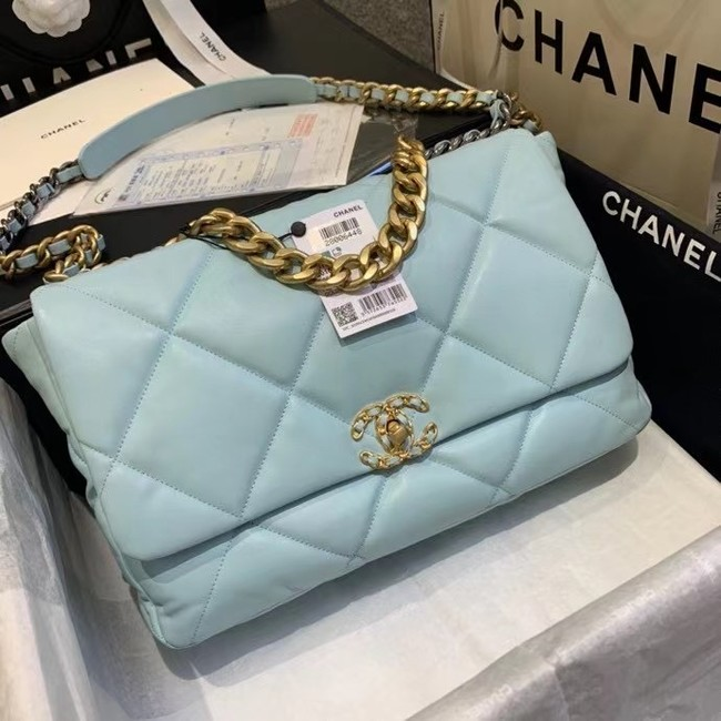 chanel 19 large flap bag AS1162 sky blue