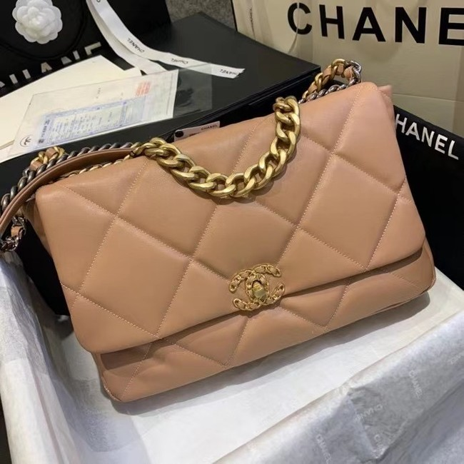 chanel 19 large flap bag AS1162 light pink
