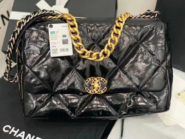 chanel 19 large flap bag Waxed skin AS1162 black