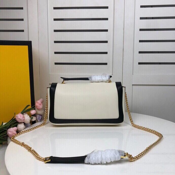 FENDI BAGUETTE CHAIN Black and white nappa leather bag 8BR783A