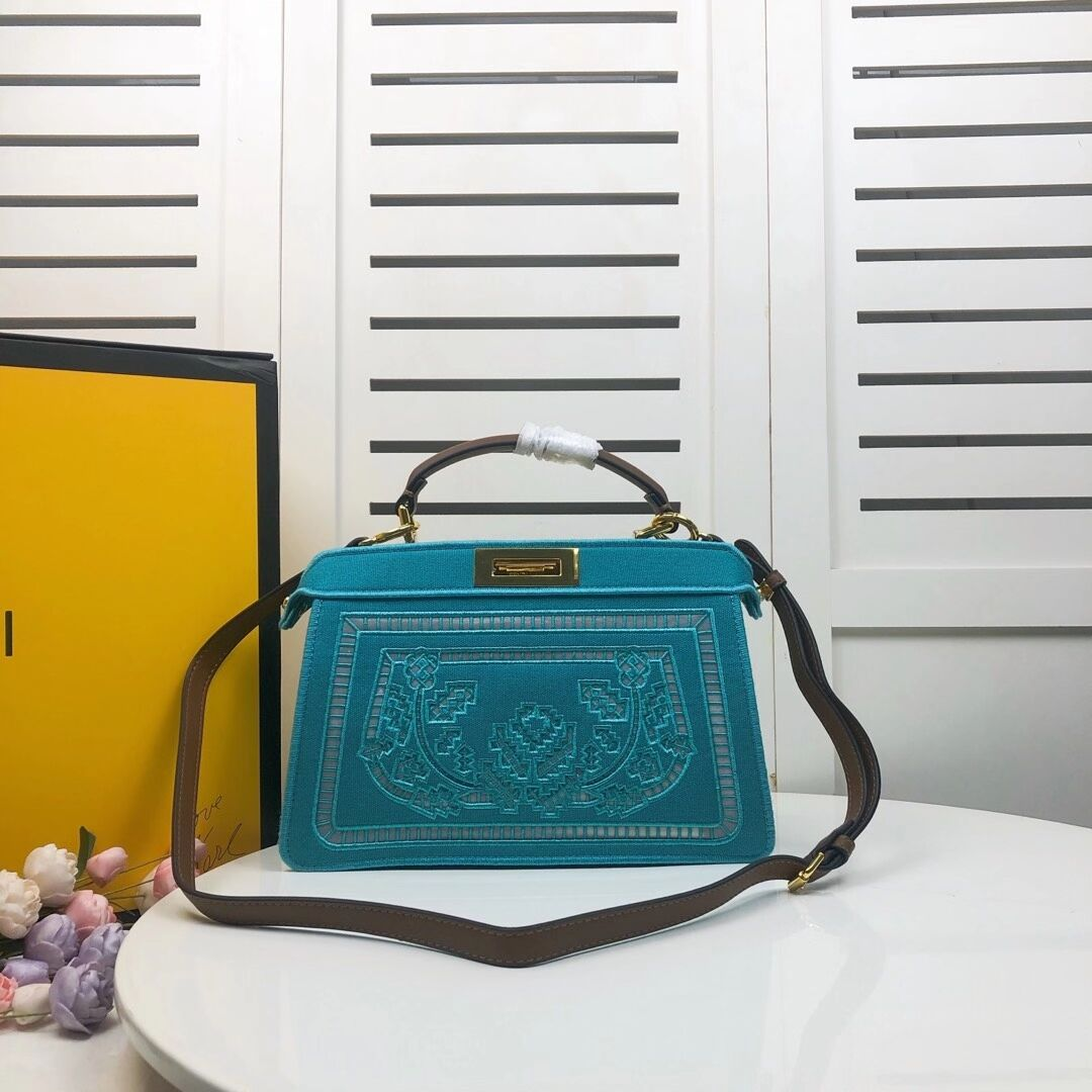 FENDI PEEKABOO ICONIC with sky blue embroidery decoration F6509