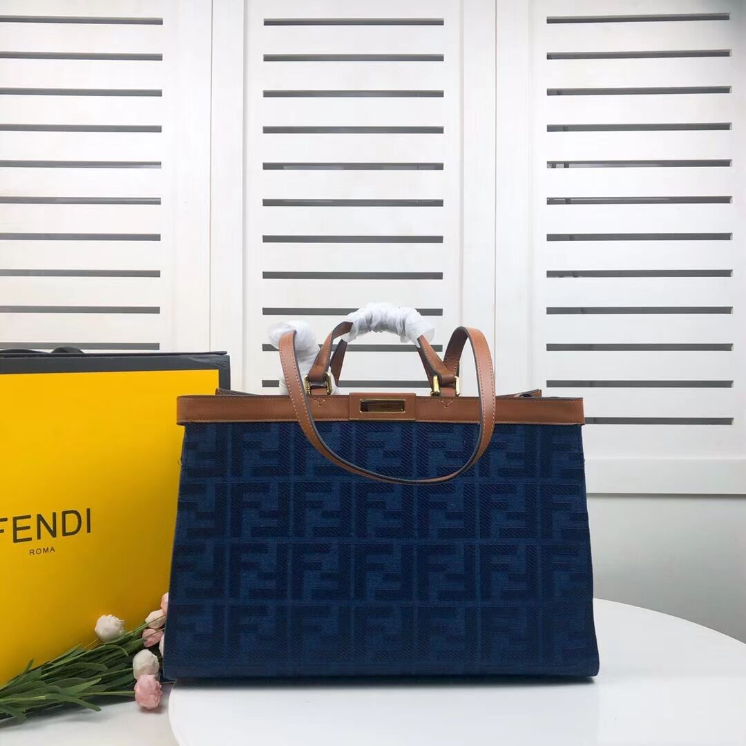 FENDI PEEKABOO X-TOTE canvas bag 8BH374A brown&blue