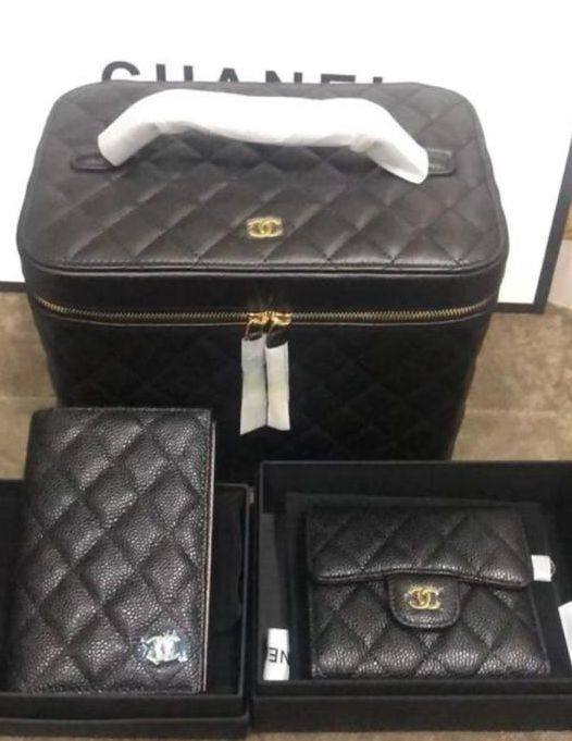 Chanel Original Lather Cosmetic Bag and Wallets Set 5961 black