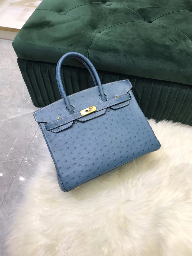 Hermes Birkin Bag Original Leather Ostrich skin HBK2530 Blue