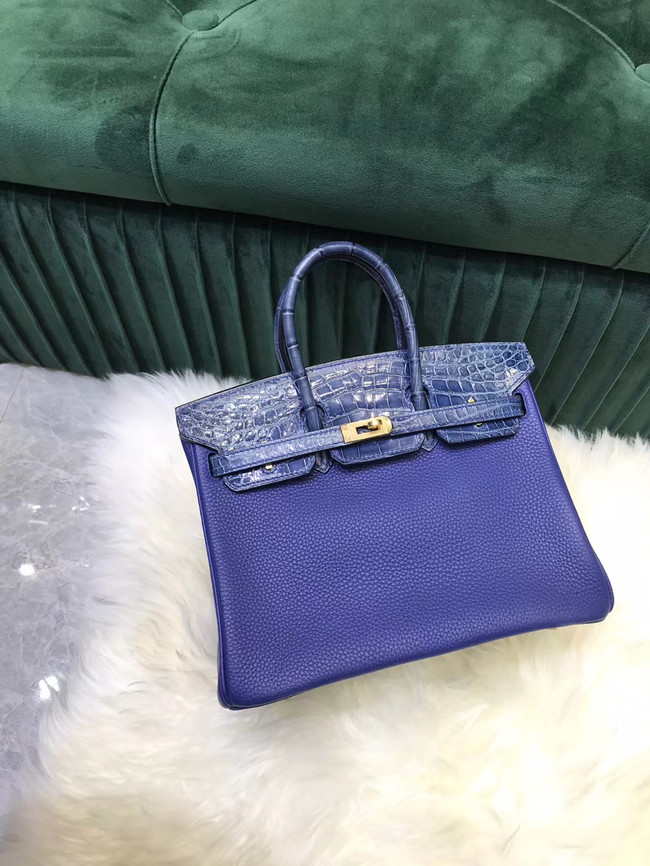 Hermes Birkin Bag Original Leather crocodile togo HBK2530 Blue