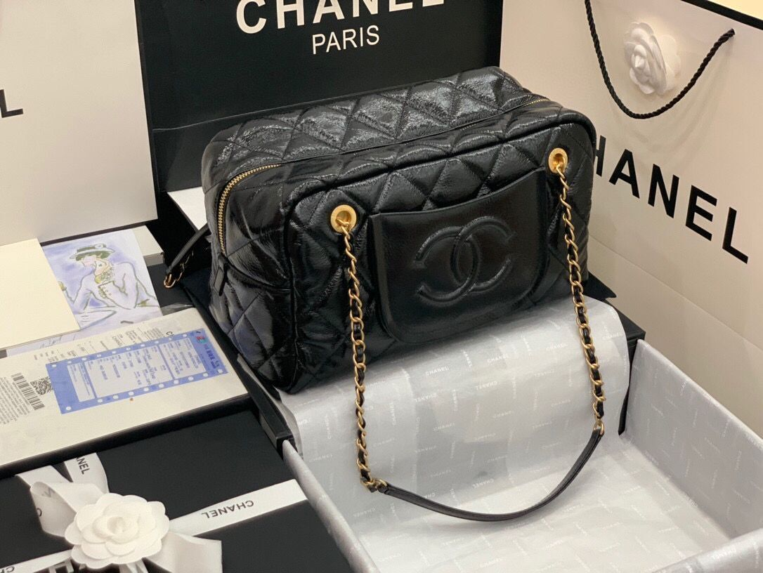 Chanel Grosse Bowling Tasche Original Leather Bag  AS2229 Black