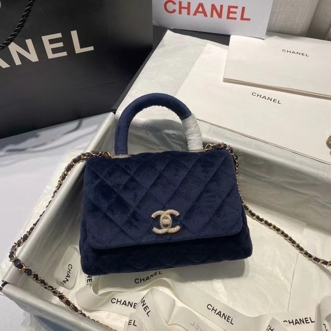 Chanel mini flap bag with top handle AS2215 Royal Blue