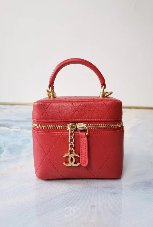 Chanel Lambskin Crystal Calfskin & Gold-Tone Metal AS1889 red