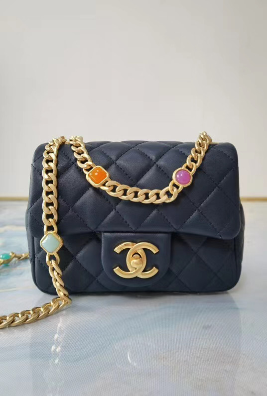 Chanel flap bag Lambskin Resin & Gold-Tone Metal AS2379 dark blue