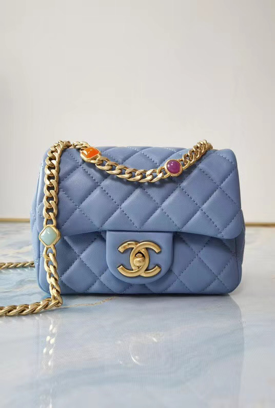 Chanel flap bag Lambskin Resin & Gold-Tone Metal AS2379 sky blue
