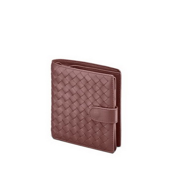 Bottega Veneta 114073 V001N 2201 Intrecciato Nappa Flap French Wallet Maroon