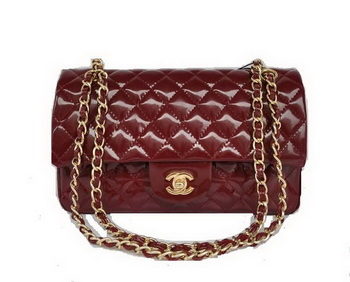 Cheap Chanel 2.55 Series Flap Bag 1112 Maroon Patent Leather Golden Hardware
