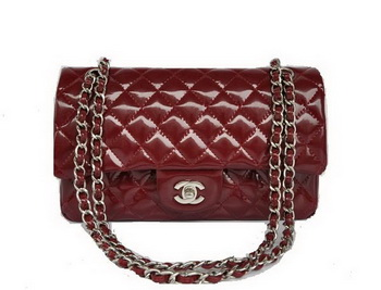 Cheap Chanel 2.55 Series Flap Bag 1112 Maroon Patent Leather Silver Hardware