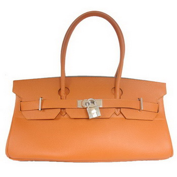 Hermes Birkin 42cm JPG Birkin Togo Leather Orange Bag Silver Hardware
