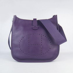 Hermes Cowhide Evelyne Messenger Bag 6309 Purple