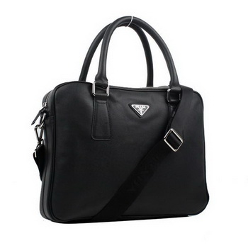 Prada BL0791 Saffiano Calf Leather Top Handle Bag Black