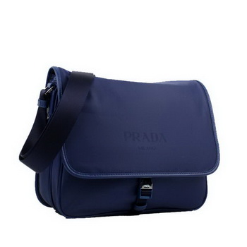 Prada Fabric Messenger Bag V166P Blue