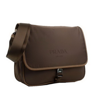 Prada Fabric Messenger Bag V166P Brown