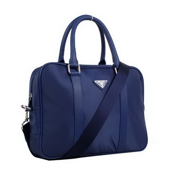 Prada Laptop Case Fabric Top Handle Bag VA0901 Blue