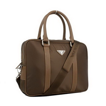Prada Laptop Case Fabric Top Handle Bag VA0901 Brown