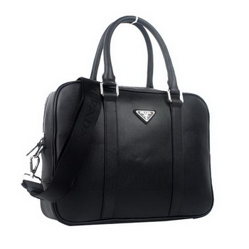 Prada Laptop Case Saffiano Calf Leather Top Handle Bag VA0901 Black