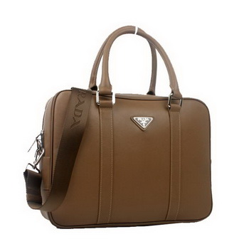 Prada Laptop Case Saffiano Calf Leather Top Handle Bag VA0901 Brown
