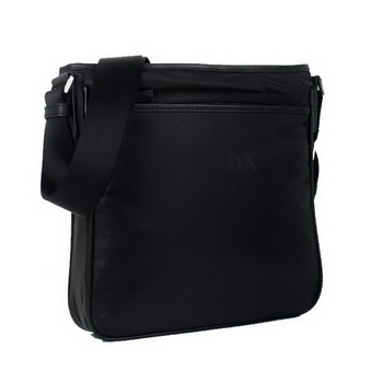Prada Vela Fabric Flat Messenger Bag 0195 Black