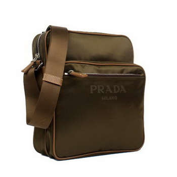 Prada Vela Fabric Messenger Bag BT0189 Brown