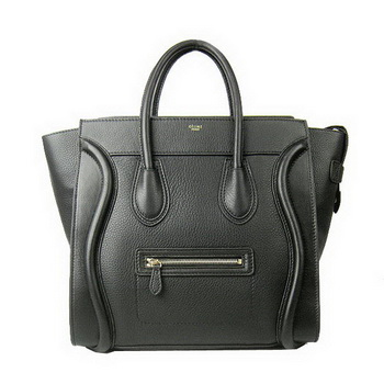 Celine Luggage Boston Tote Bags All Calfskin Leather C0189 Black