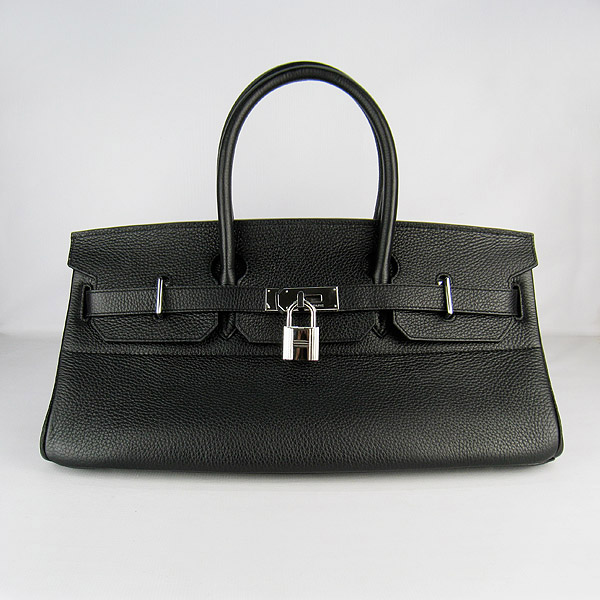 Hermes Birkin 6109 Togo Leather Bag Black 42cm Silver