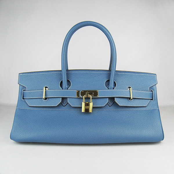 Hermes Birkin 6109 Togo Leather Bag Blue 42cm Gold
