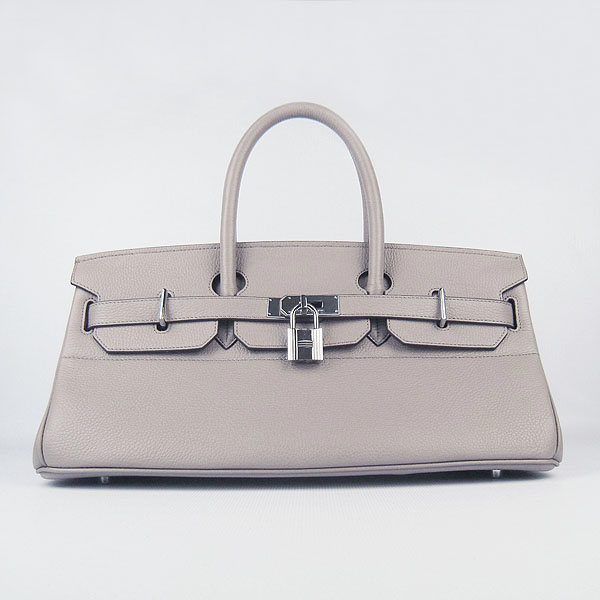 Hermes Birkin 6109 Togo Leather Bag Grey 42cm Silver