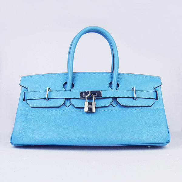 Hermes Birkin 6109 Togo Leather Bag light Blue 42cm Silver