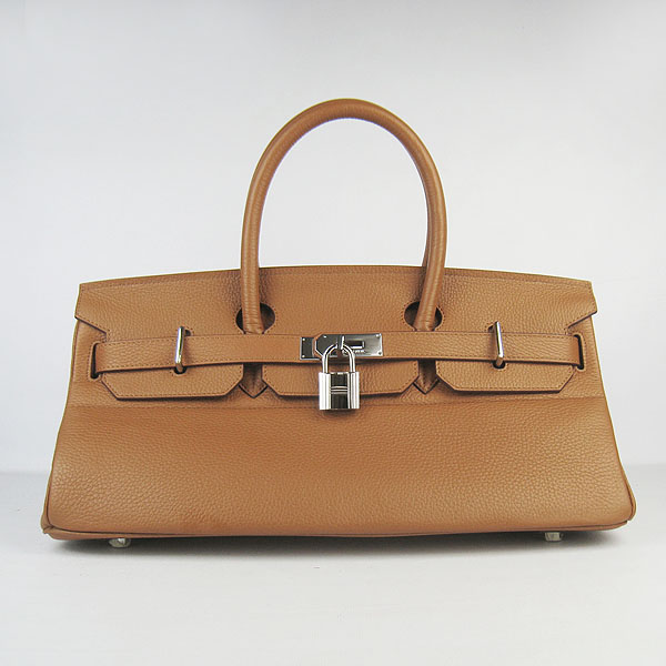 Hermes Birkin 6109 Togo Leather Bag Brown 42cm Silver