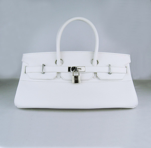 Hermes Birkin 6109 Togo Leather Bag White 42cm Silver