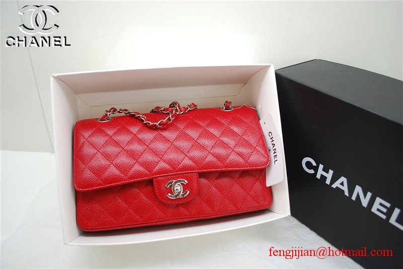 Chanel 2.55 Double Flap Silver Hardware A1112 Red