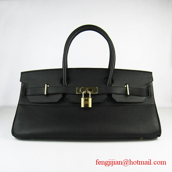 Hermes Birkin 42cm Togo Leather Bag 6109 Black gold padlock