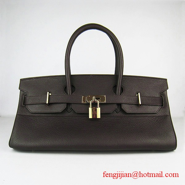 Hermes Birkin 42cm Togo Leather Bag 6109 gold padlock Dark Coffee